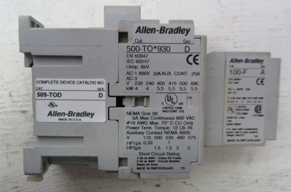 medium resolution of allen bradley 500 to 930 509 tod 100 f size 00 contactor 500to930 starter 690 32 509tod