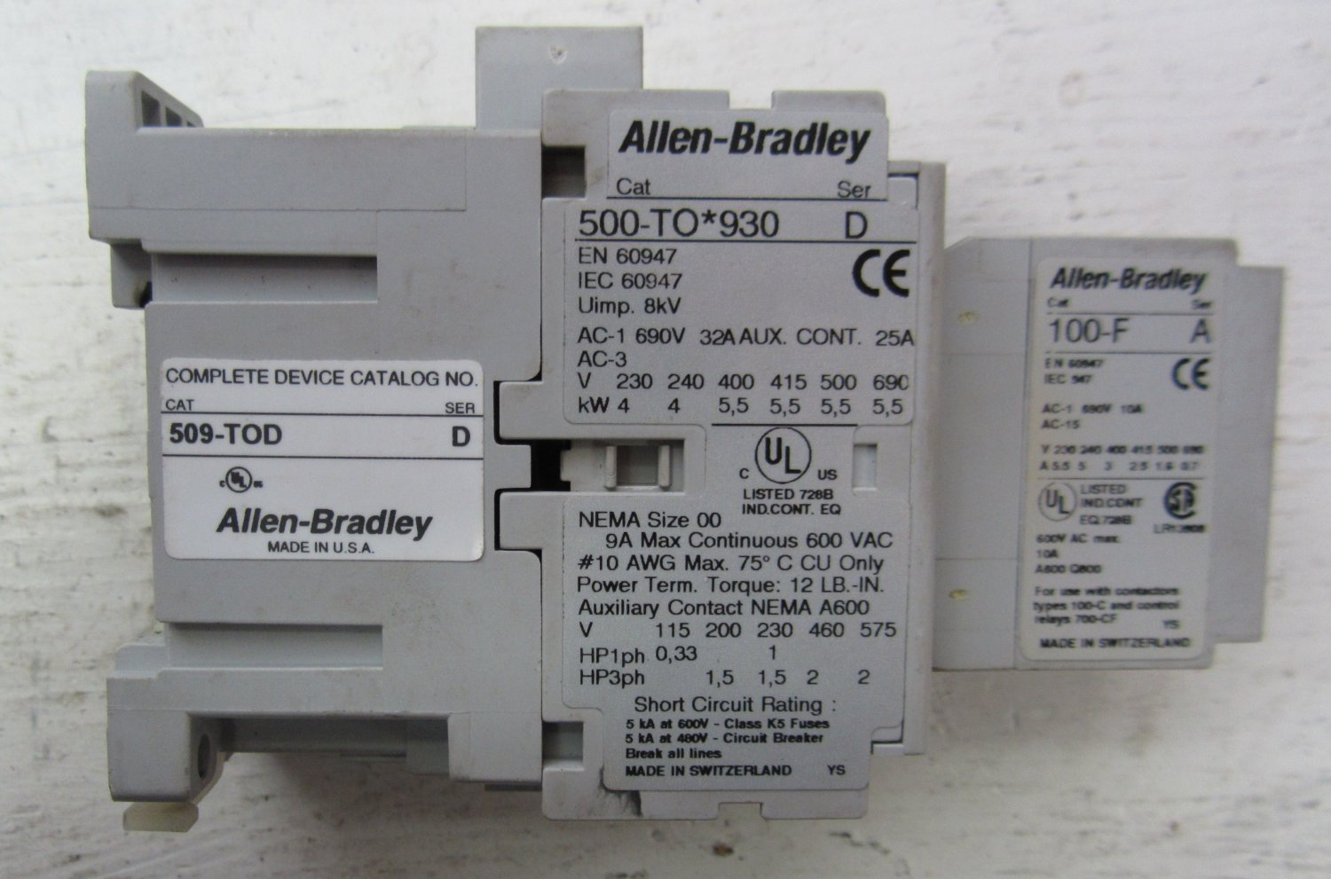 hight resolution of allen bradley 500 to 930 509 tod 100 f size 00 contactor 500to930 starter 690 32 509tod