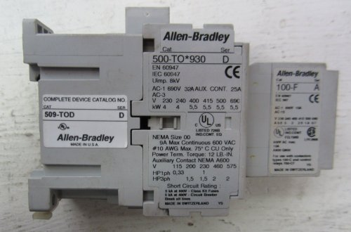 small resolution of allen bradley 500 to 930 509 tod 100 f size 00 contactor 500to930 starter 690 32 509tod