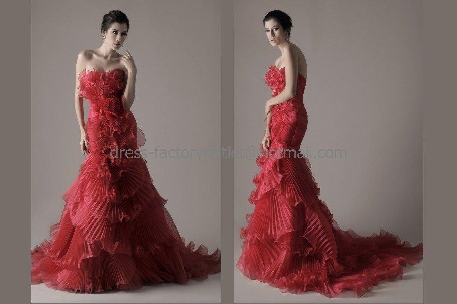 Crep Organza Bridal Dress Red Flower Ball Gown Memaid
