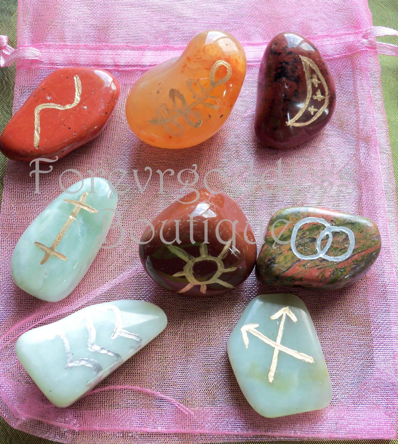 Witches Runes 8 Mixed Semi Precious Stone