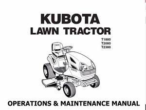 KUBOTA T1880 T2080 T2380 MANUAL w/ Garden Tractor