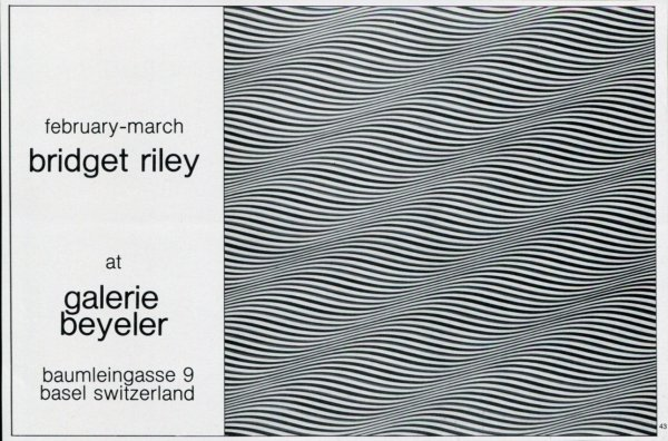 1975 Bridget Riley Vintage Art Exhibition Ad Advert Galerie Beyeler Basel Switzerland