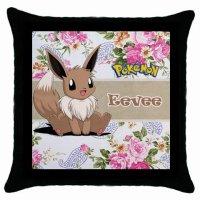 Cute Pokemon Eevee Throw Pillow Case Black