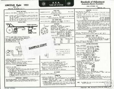 1957 AEA Lincoln Eight Auto Tune Up Chart