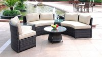 Modern Rounded Wicker PE Rattan Outdoor Patio Furniture ...