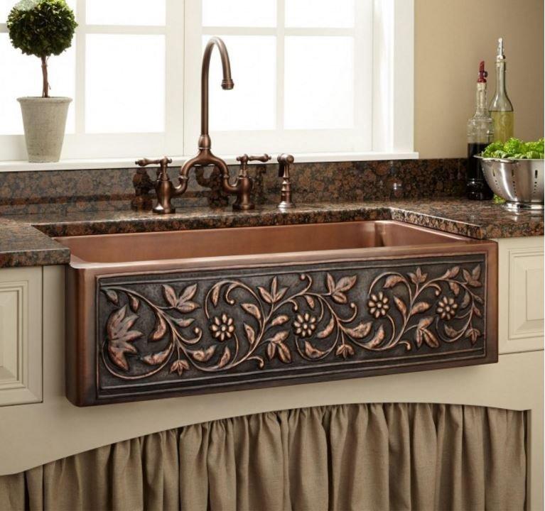 New 36 Vine Design Copper Farmhouse Sink Single Bowl Hammered 100 Copper