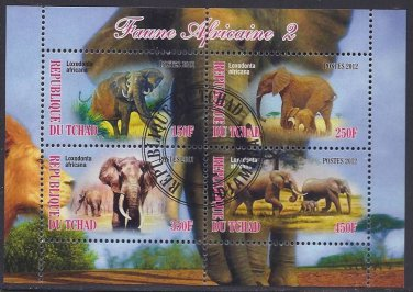Issued by the country of Chad in 2012, this sheet of four elephant stamps is perfect for the topical stamp collector