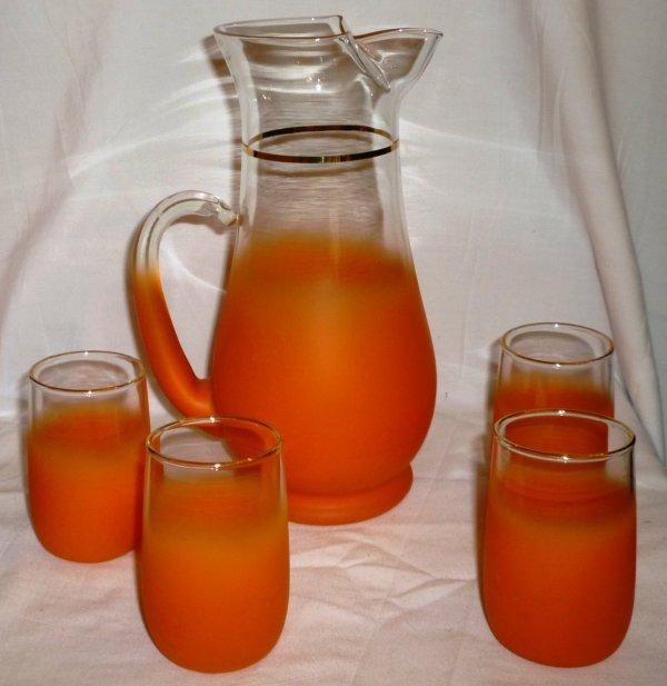 Vintage Retro Juice Set Orange Frosted Glass Pitcher & 4