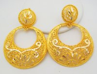 Traditional Chand Bali Design Hoop Earrings Filigree 22k