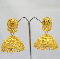 22k Big Gold Plated Jhumka Earrings Indian Traditional ...