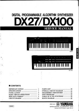 Yamaha DX7 DX-7 Service Manual
