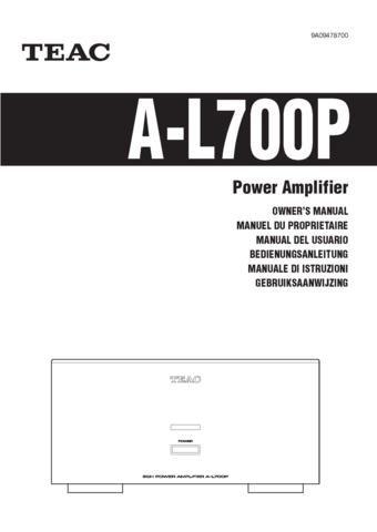 Teac AL700P A-L700P AL-700P Operating Guide