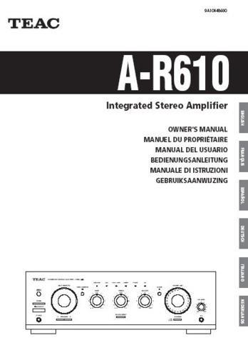Teac AR610 A-R610 AR-610 Operating Guide