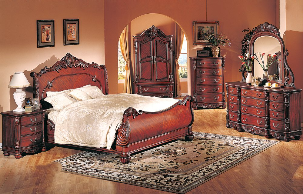 4 Pc Modern High End Traditional Cherry Queen Bed Bedroom Set ZBMB09