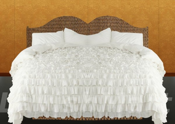 King/Cal King Size White Ruffle Duvet Cover Set 3PC 1200TC ...