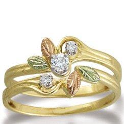 Black Hills Gold Diamond 14 Wedding Ring Set