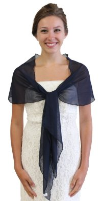 Chiffon Bridal Wrap Wedding Shawl - Navy Blue 5139CH
