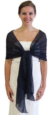 Chiffon Wedding Shawl Navy Blue