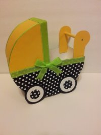 Yellow Lime and Polka Dot Baby Carriage Table Centerpiece ...