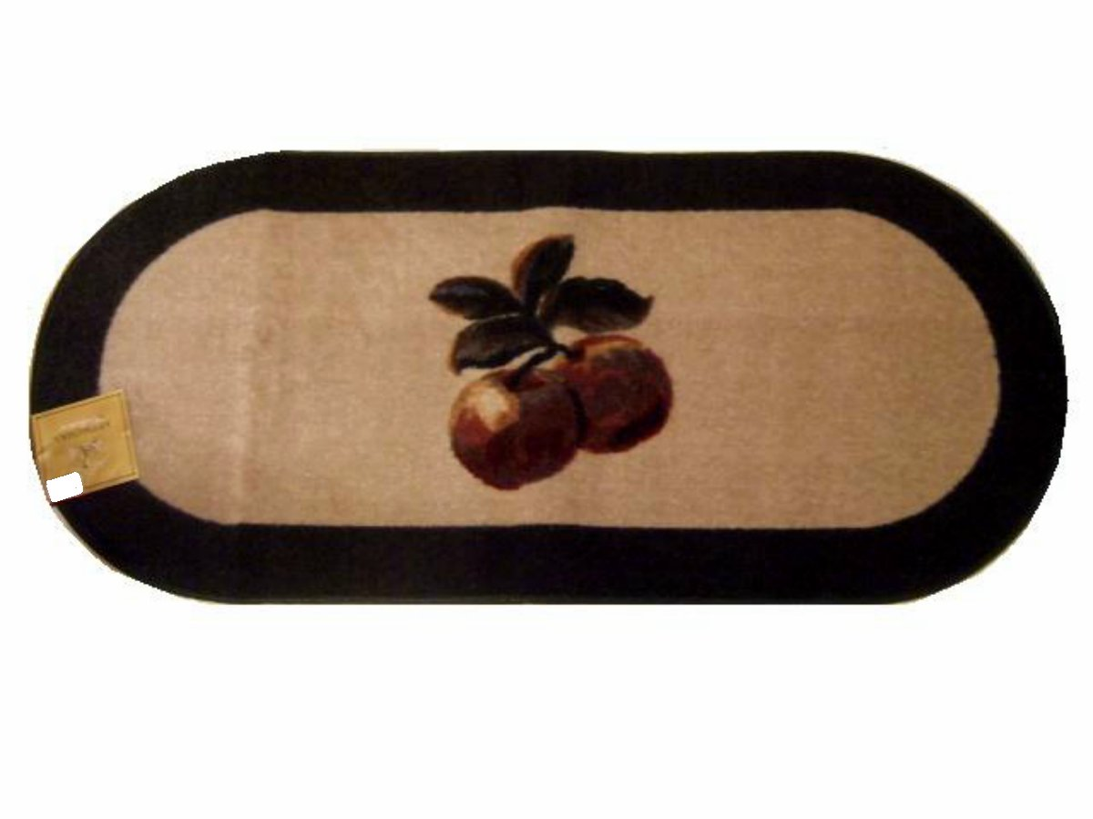 green apple kitchen decor small trash can with lid large oval themed red apples rug