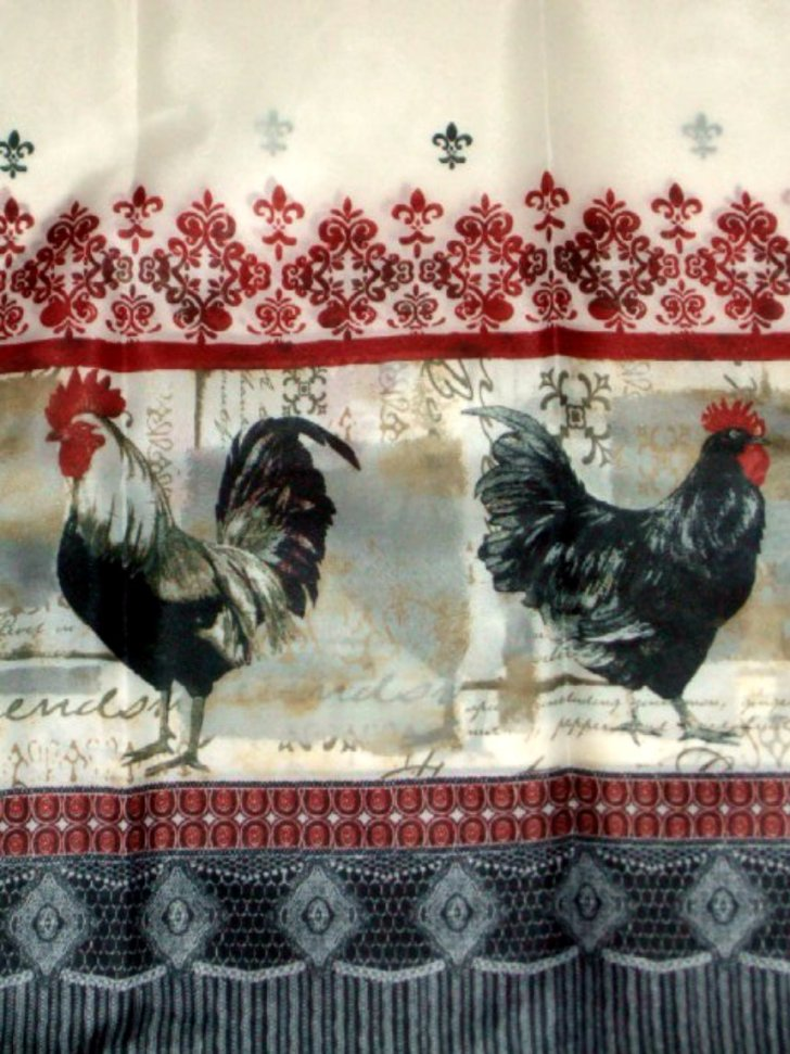 Rooster Themed Kitchen Curtains Complete Window Treatment Tiers Swag