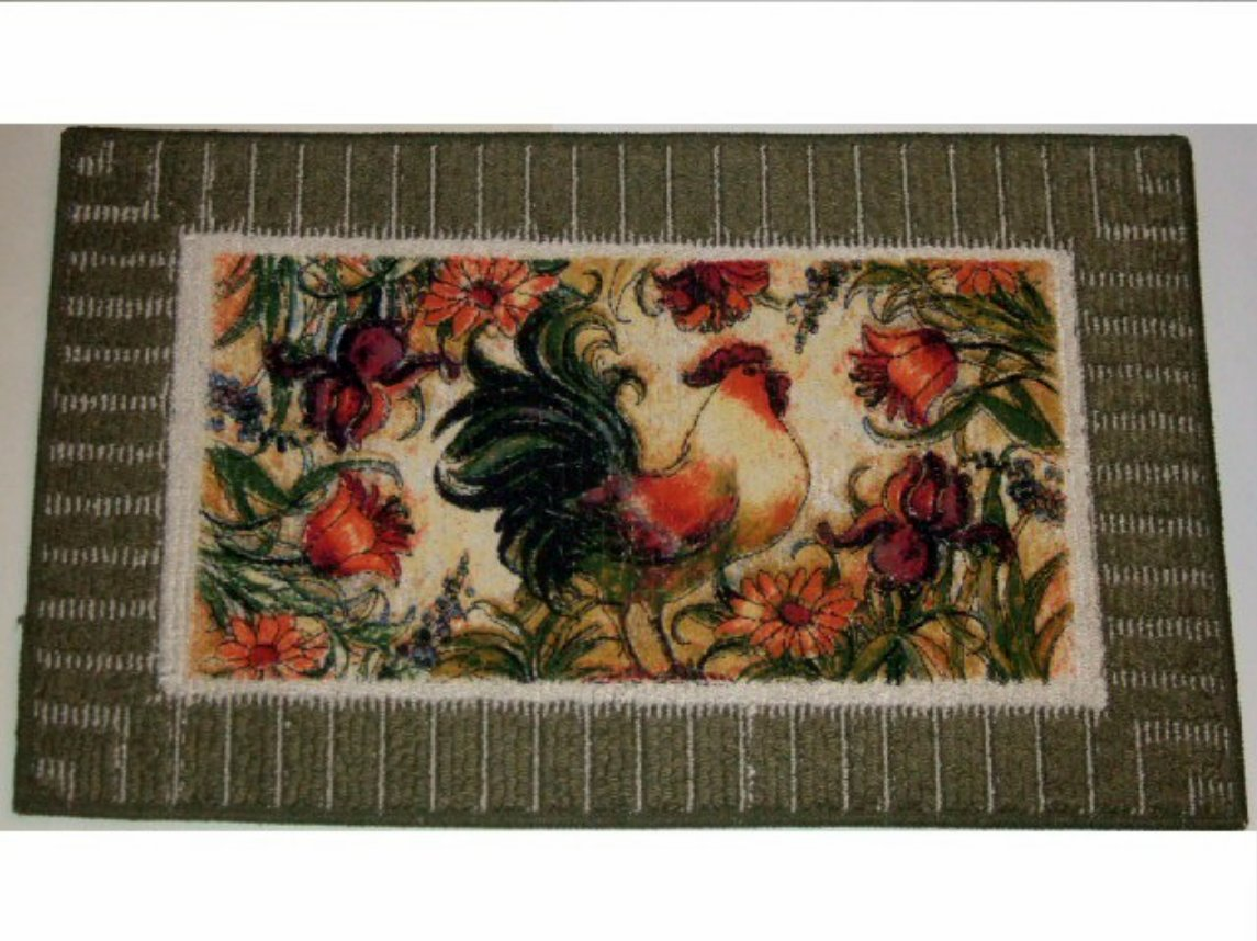 chicken kitchen rugs frigidaire package floral rooster rug