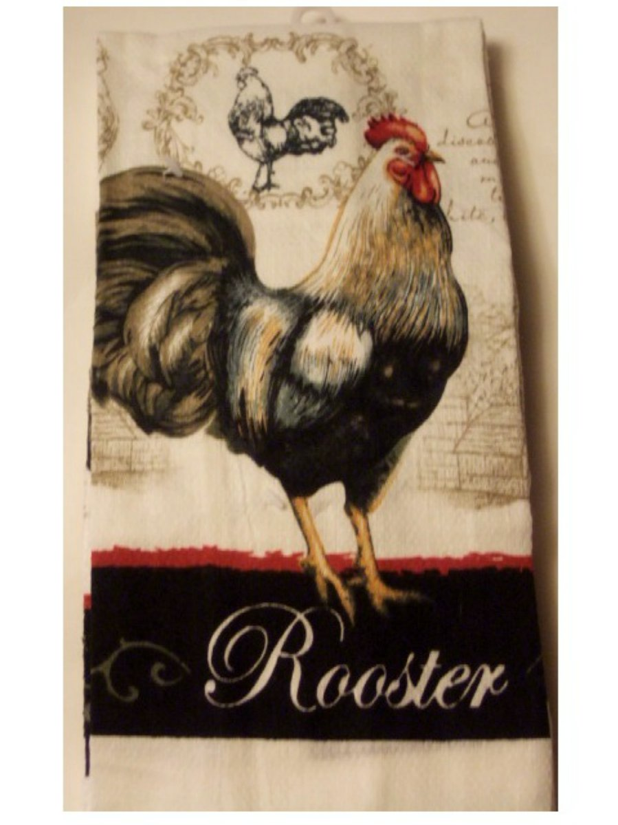 Country Rooster Red Black Towels Dishcloths Kitchen Linens Set