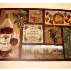 Gray Kitchen Mat Cheap Small Grapes Wine Themed Placemats Set