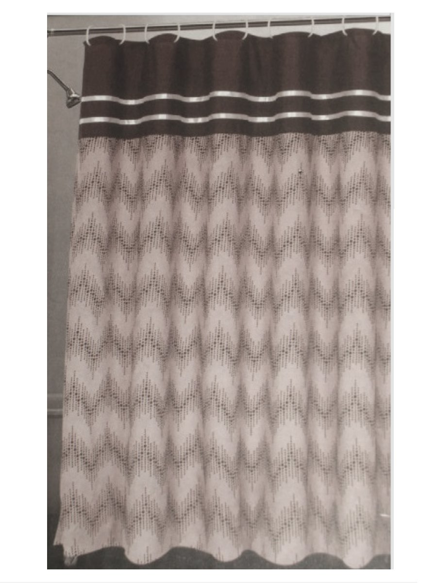 Chevron Taupe Brown Flock Fabric Shower Curtain