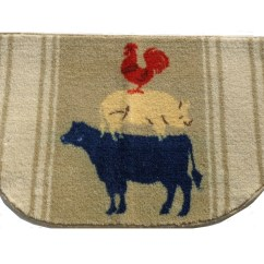 Chicken Kitchen Rugs Small Portable Island Cow Pig Rooster Rug Country Decor