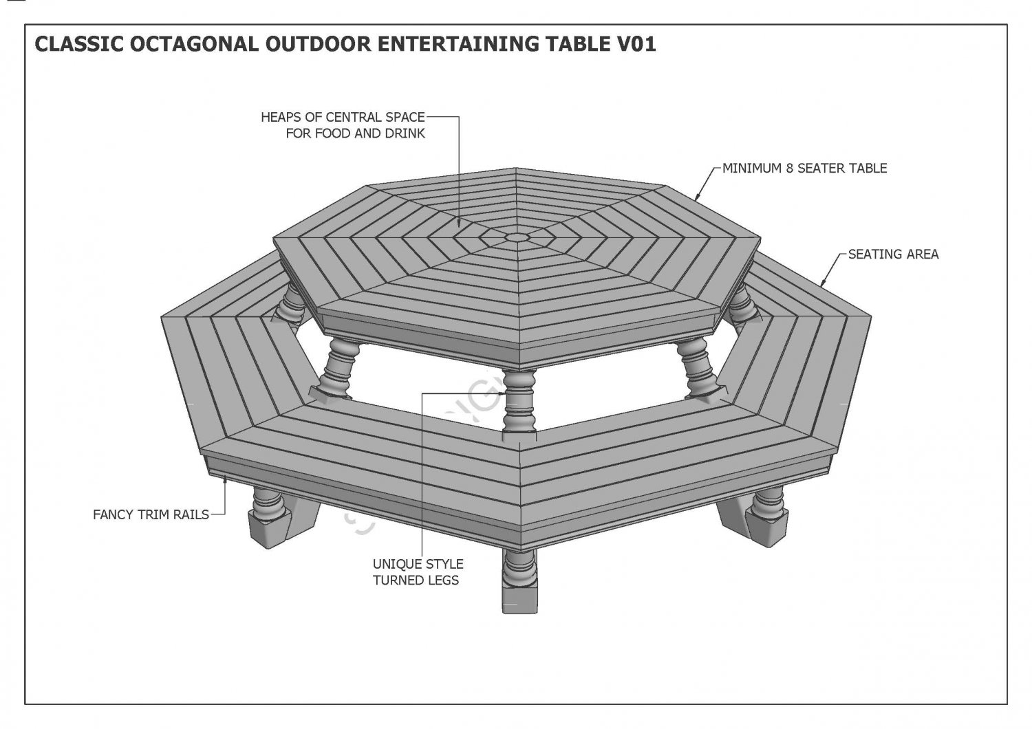 OCTAGON OUTDOOR TIMBER TABLE & CHAIR