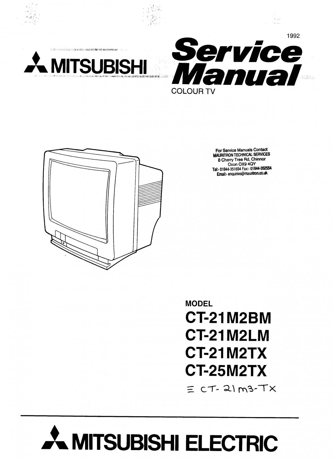 Mitsubishi CT21M2TX Television Service Manual PDF download.