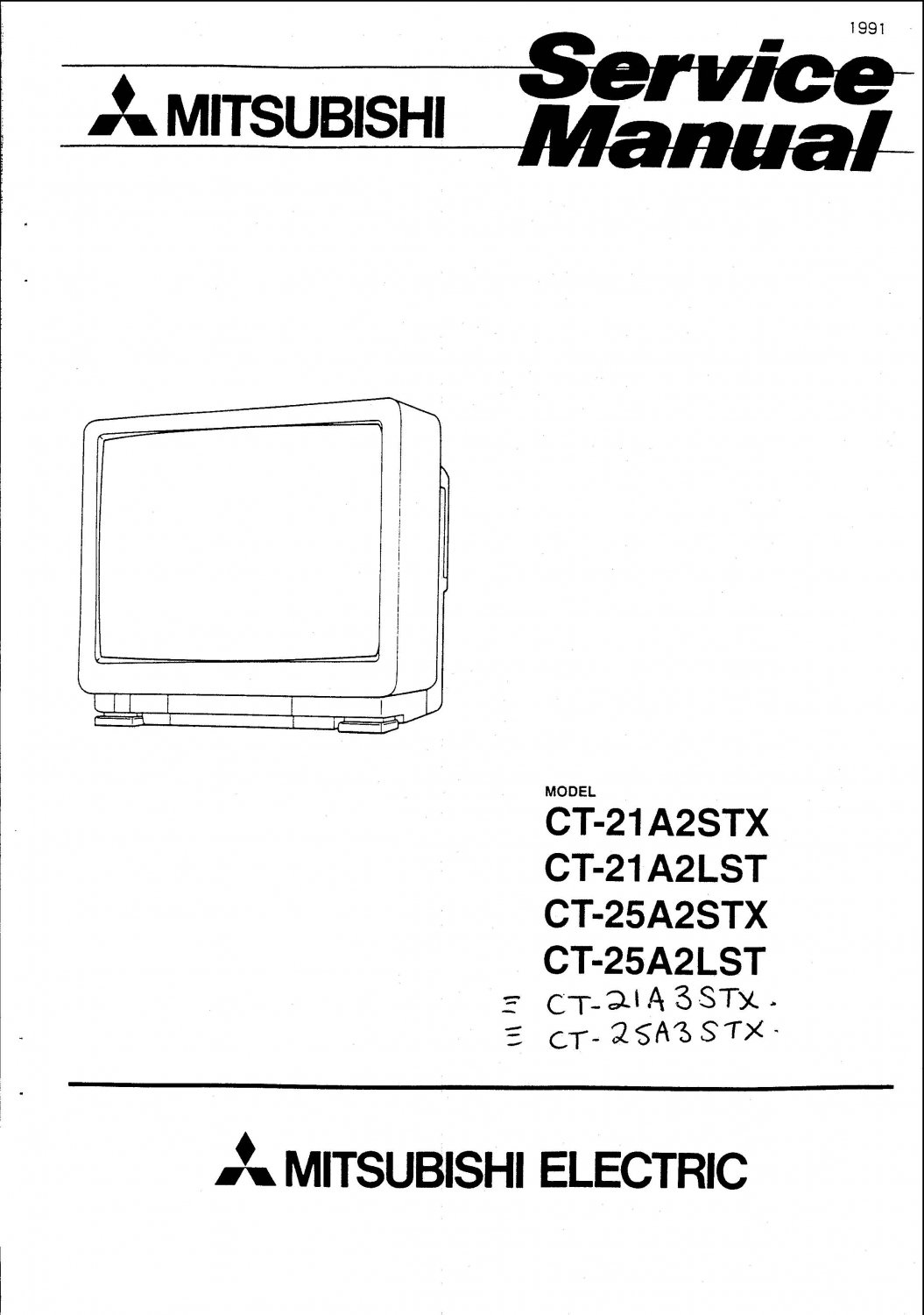 Mitsubishi CT25A3STX Television Service Manual PDF download.