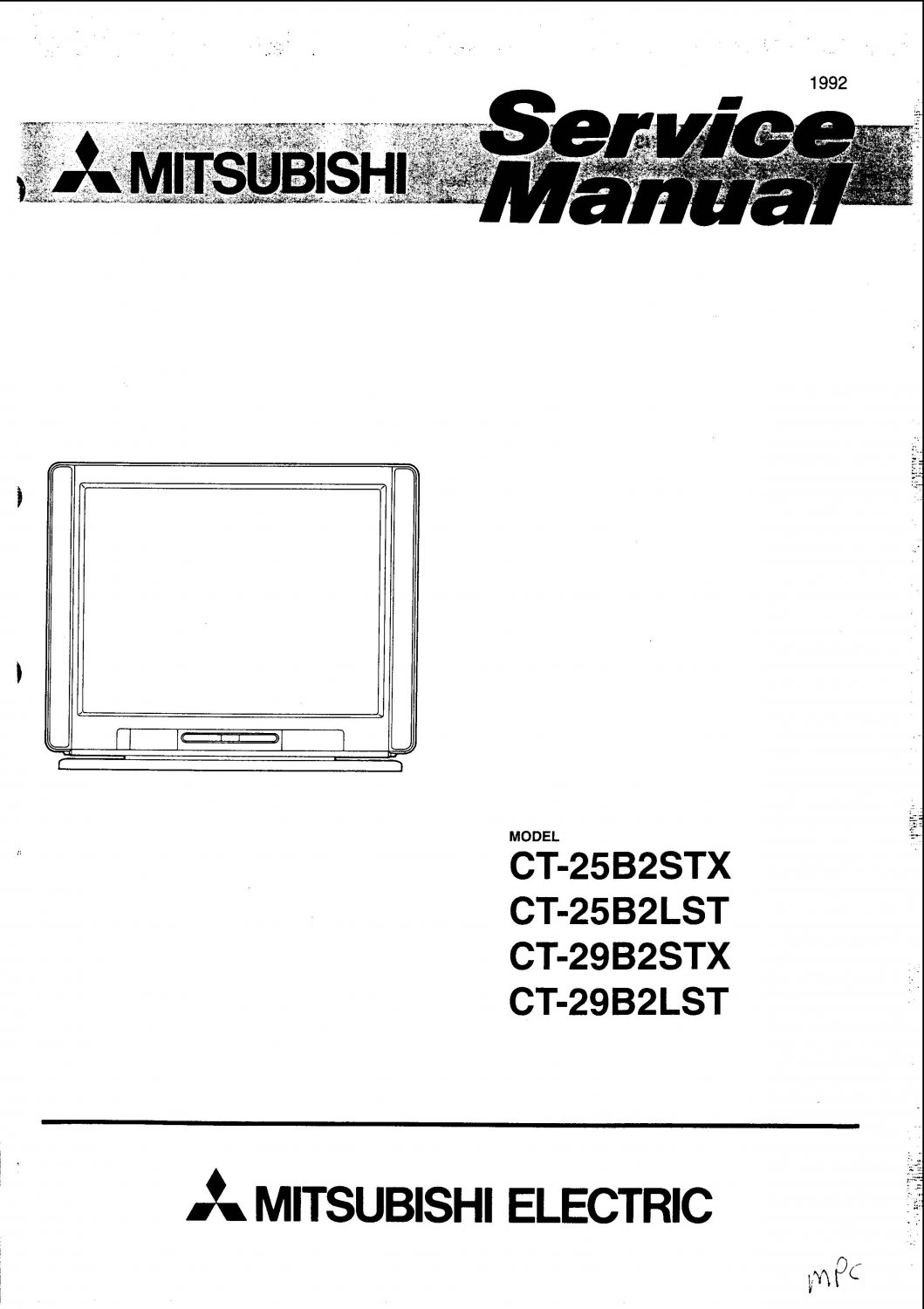 Mitsubishi CT29B2LST Television Service Manual PDF download.