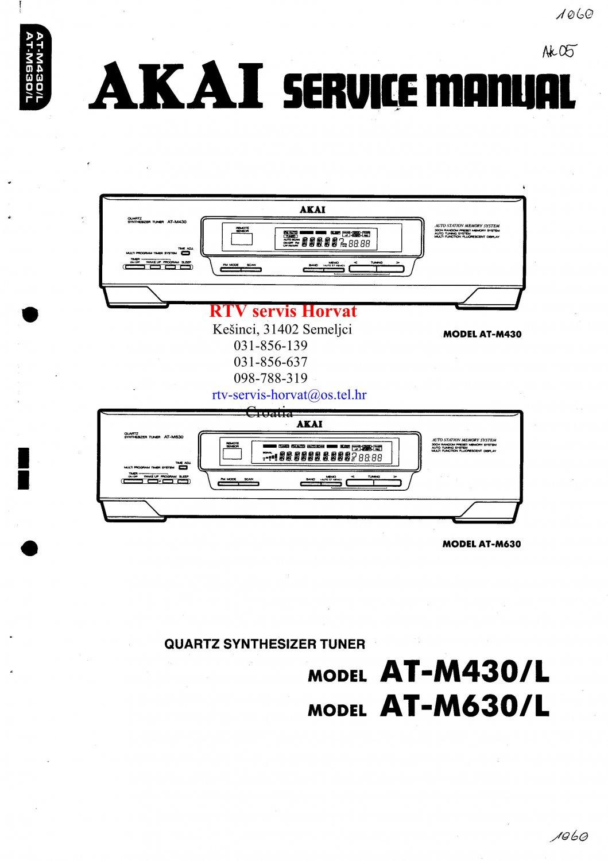 Akai ATM630L Audio Equipment Service Manual PDF download.