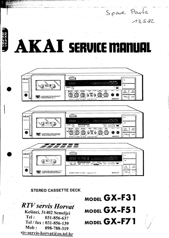 Akai GXF31 Audio Equipment Service Manual PDF download.