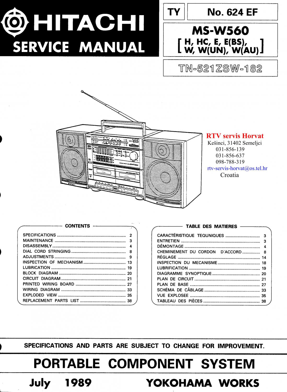 Hitachi MSW560 Music System Service Manual PDF download.