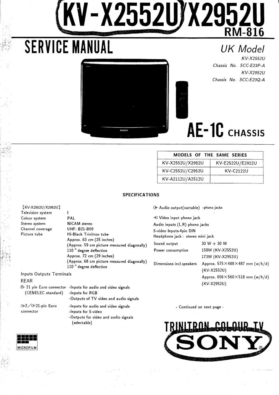 Sony KVC2963E. AE1C Television Service Manual PDF download.