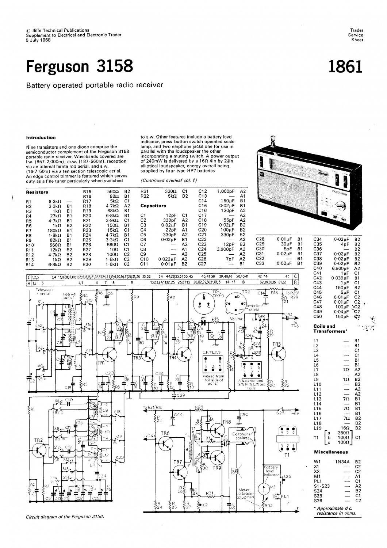 Ferguson 3158 Vintage Audio Service Schematics PDF download.