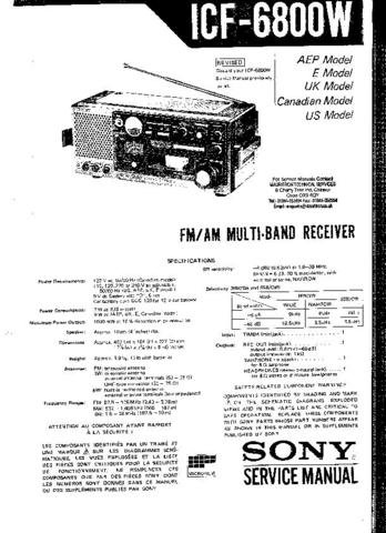 SONY ICF6800W Service Manual by download #91089