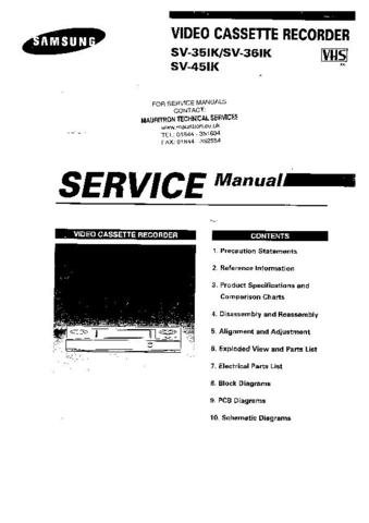 SAMSUNG SV451K Service Manual by download #92159