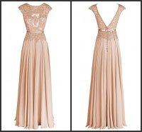 Long Bridesmaid Dresses Champagne A-line Silk Chiffon Lace ...