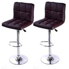 Leather Pub Chair Mahogany Chippendale Chairs Set Of 2 Bar Stool Pu Barstools Adjustable