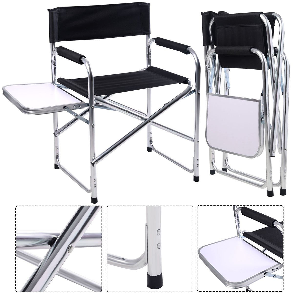 Aluminum Folding Directors Chair with Side Table Camping