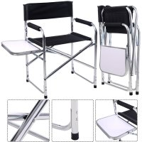 Aluminum Folding Director's Chair with Side Table Camping ...
