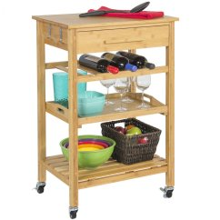 Kitchen Storage Cart Cabinet Rolling Wood Rack With Drawer