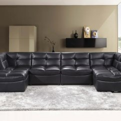 Cloud Sofa For Sale All Leather Reclining Sofas 9148 6 Pcs Black Modular Sectional W Ottoman