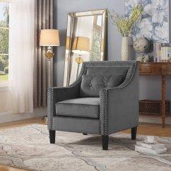 Grey Accent Chair With Arms Aeron Repair Manual Zh119 Edinburgh Suede Living Room Arm
