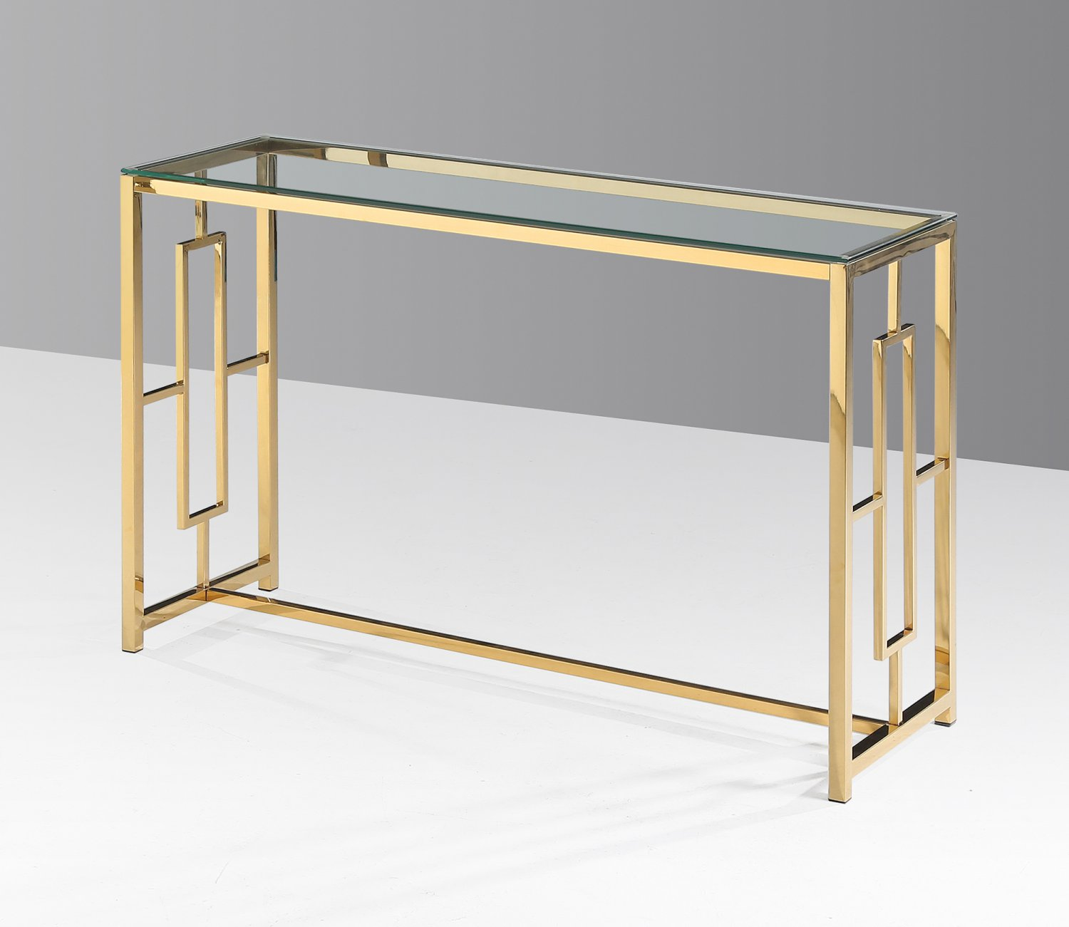 gold glass sofa table durham crate and barrel e24 stainless steel